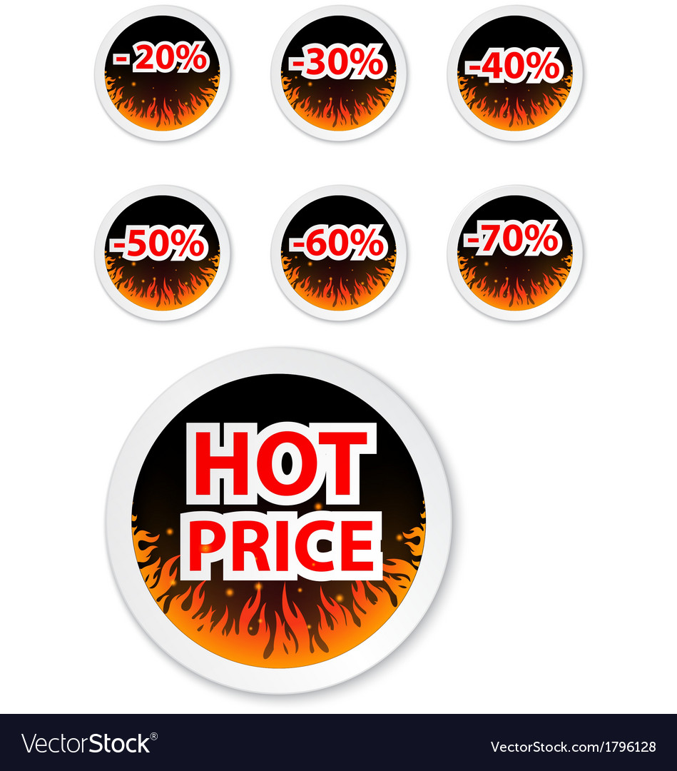 Hot price stickers with fire flame vector | Price: 1 Credit (USD $1)