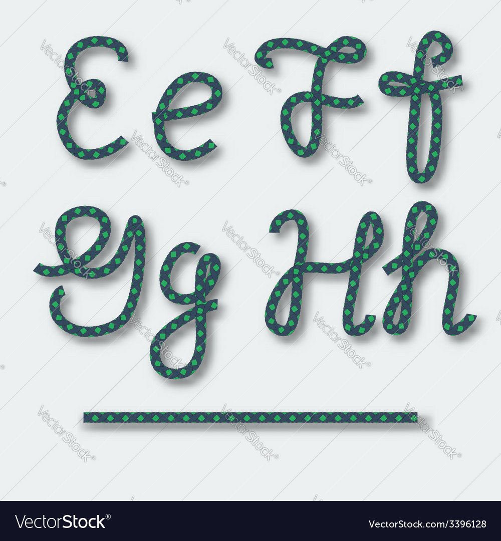 Letters e f g h - handwritten alphabet of rope vector | Price: 1 Credit (USD $1)