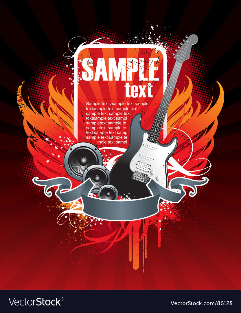 Musical theme with guitar vector | Price: 1 Credit (USD $1)