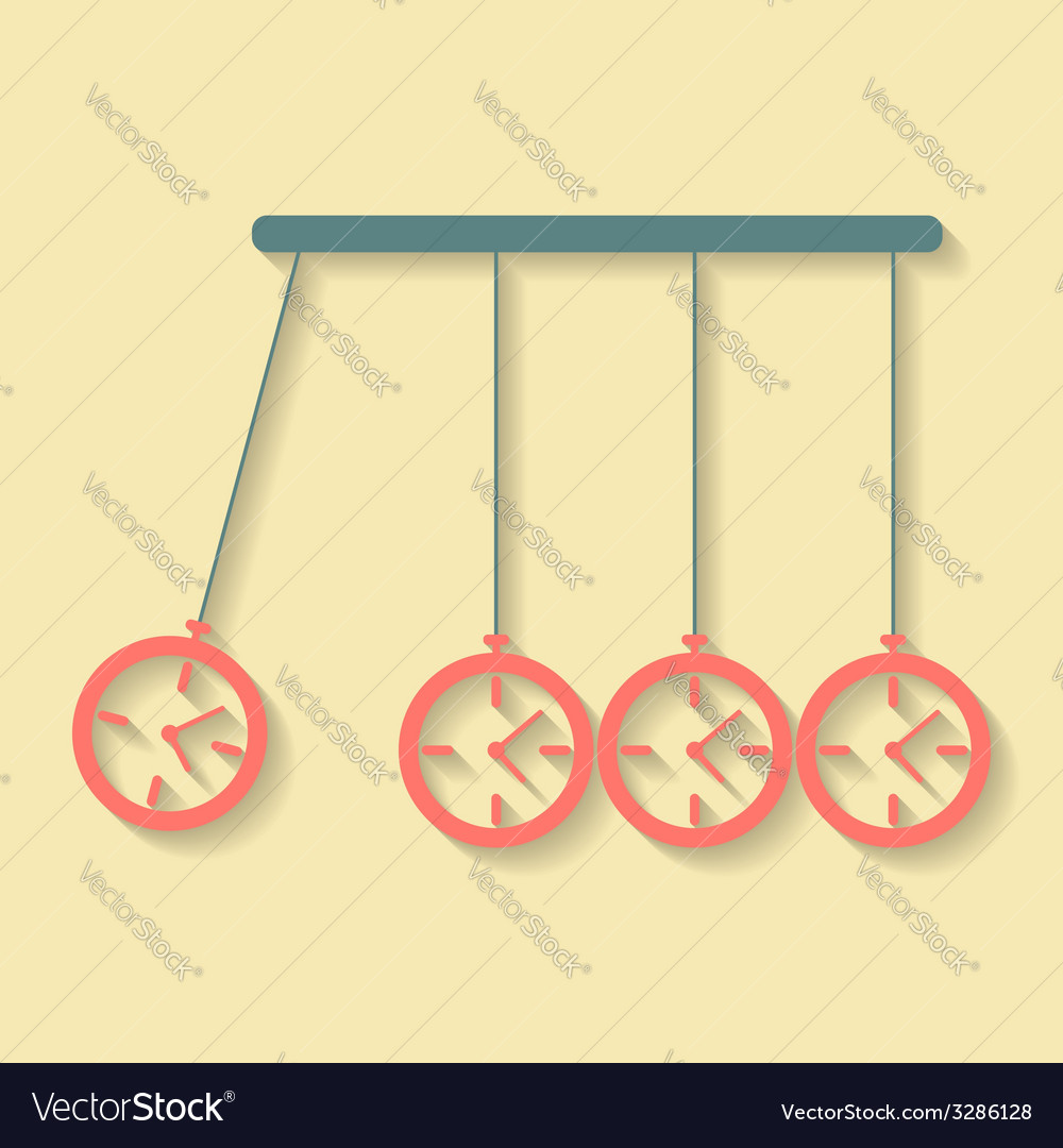 Newtons cradle concept of procrastination with vector   Price: 1 Credit (USD $1)