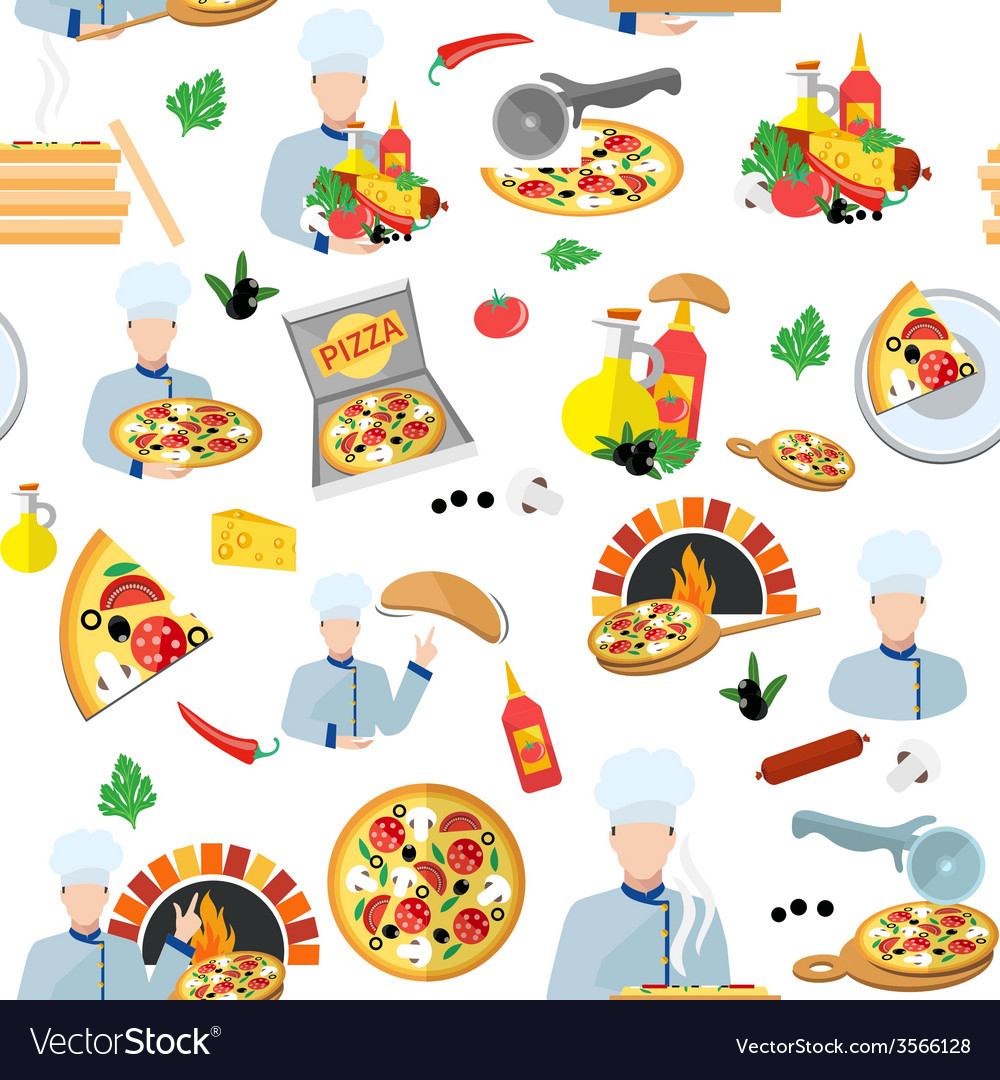 Pizza maker seamless pattern vector