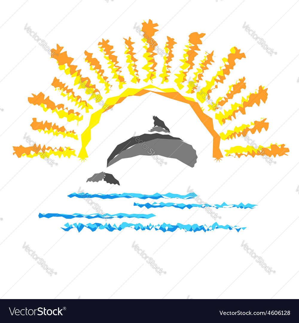 Seascape with a dolphin template logo travel vector | Price: 1 Credit (USD $1)