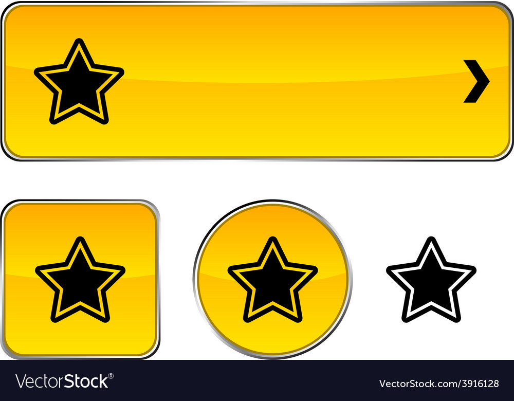 Star button set vector | Price: 1 Credit (USD $1)