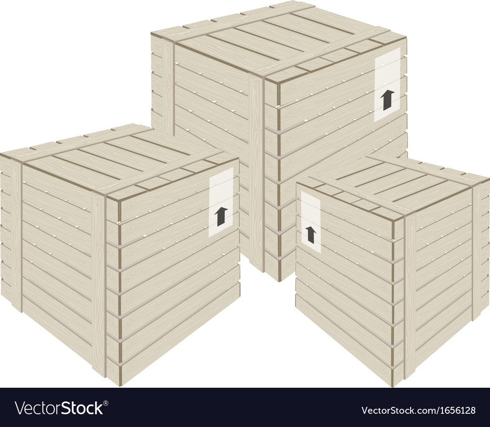 Three wooden cargo boxs on white background vector | Price: 1 Credit (USD $1)
