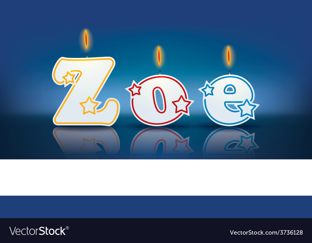 Zoe written with burning candles vector | Price: 1 Credit (USD $1)