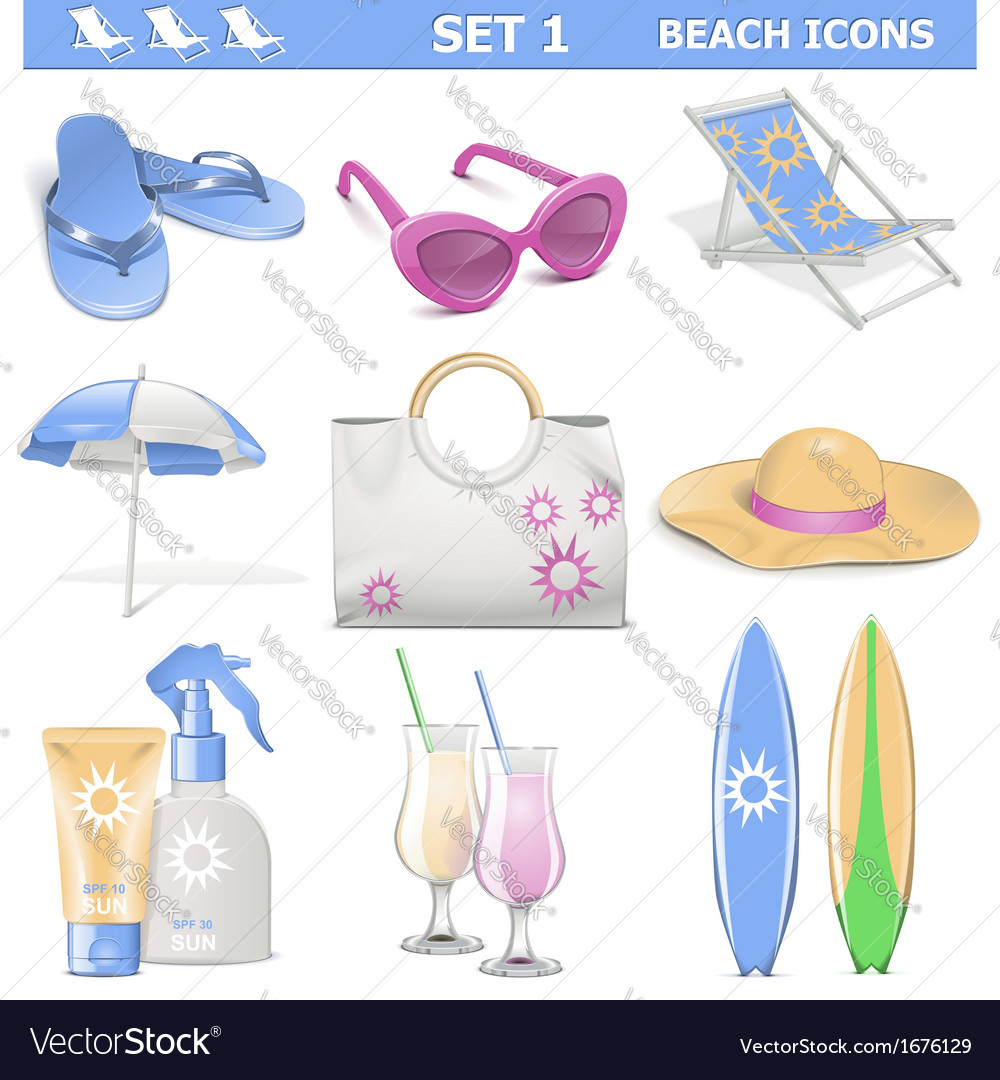 Beach icons set 1 vector | Price: 1 Credit (USD $1)