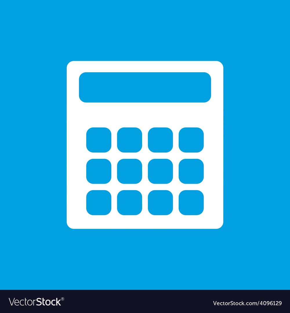 Calculator white icon vector | Price: 1 Credit (USD $1)