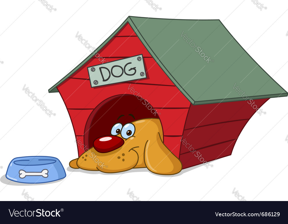 Dog in doghouse vector | Price: 1 Credit (USD $1)
