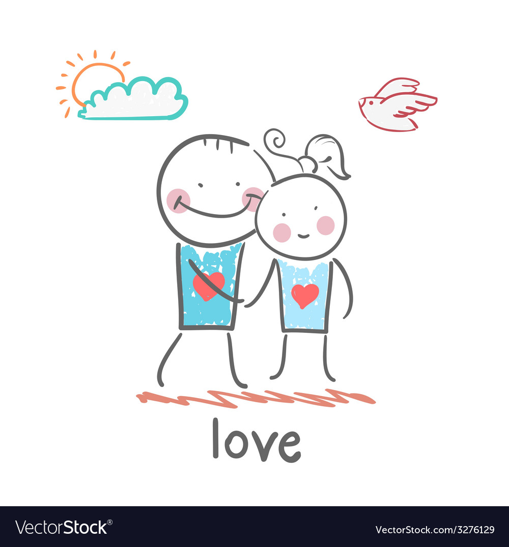 Girl and boy in love vector | Price: 1 Credit (USD $1)