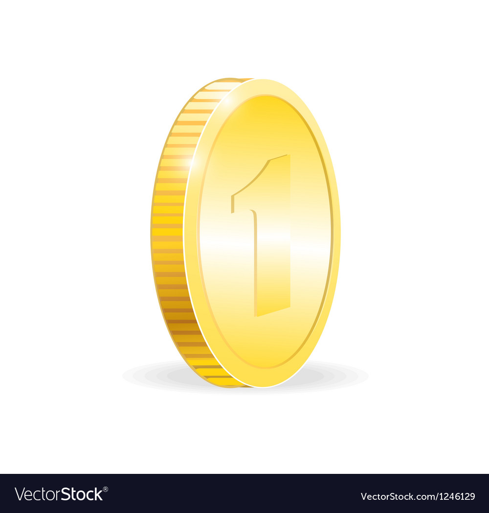 Gold coin isolated on white background vector | Price: 3 Credit (USD $3)