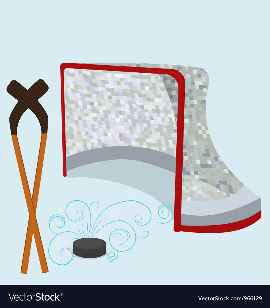 Ice hockey puck stick and net vector | Price: 1 Credit (USD $1)