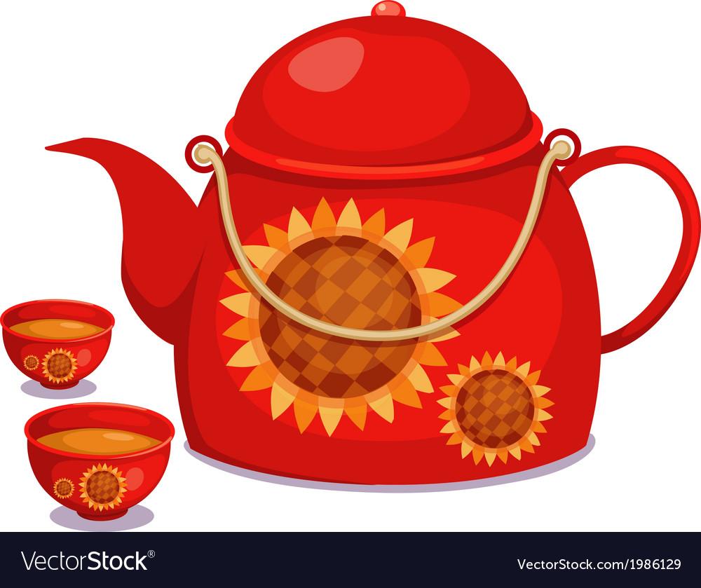 Isolated tea pot set vector | Price: 1 Credit (USD $1)