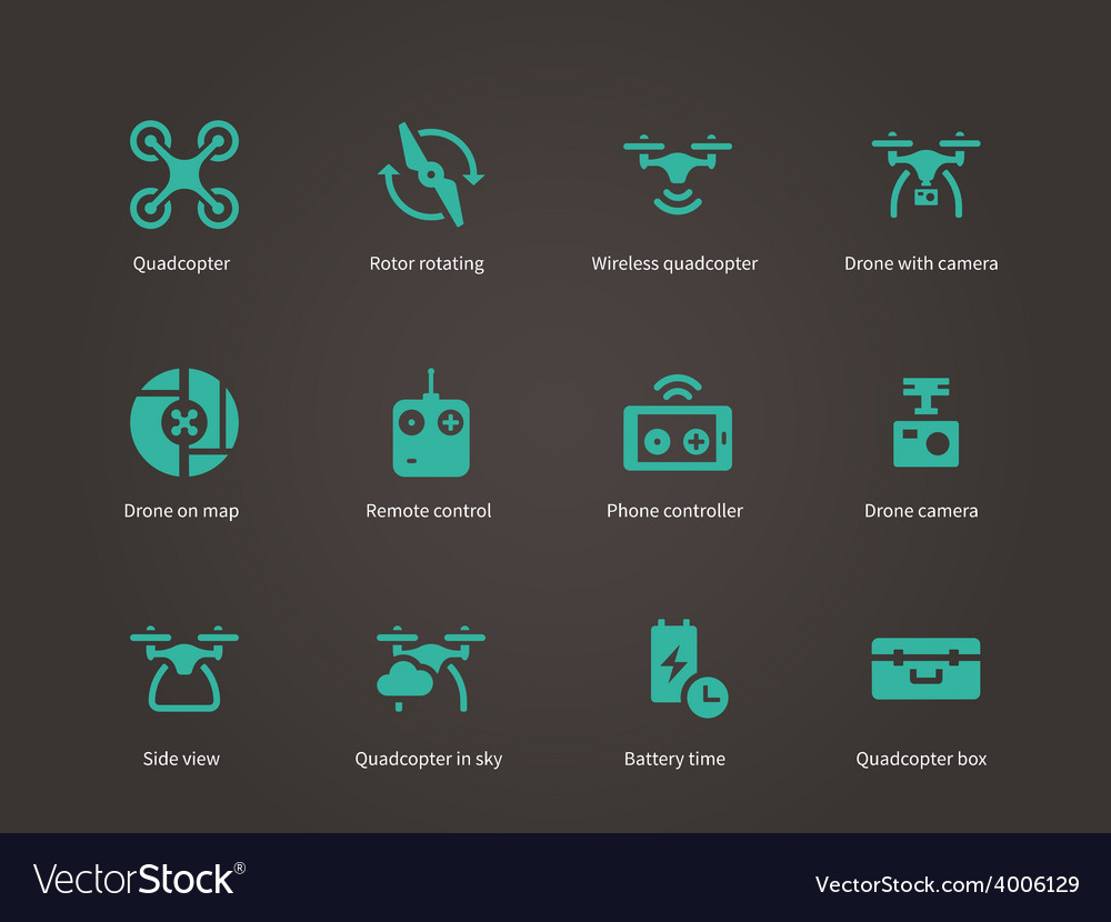 New technologies flying drone icons set vector | Price: 1 Credit (USD $1)