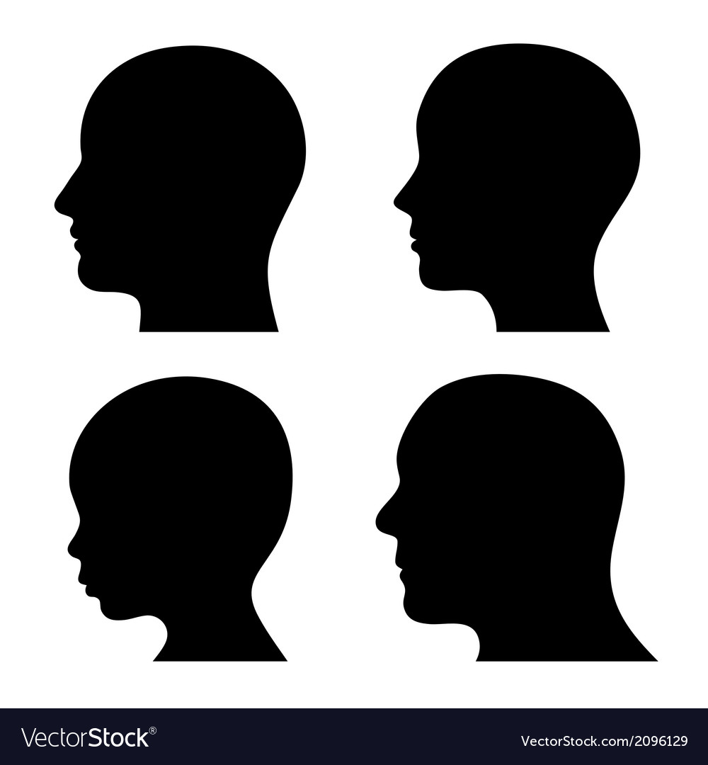 People profile head silhouettes set vector
