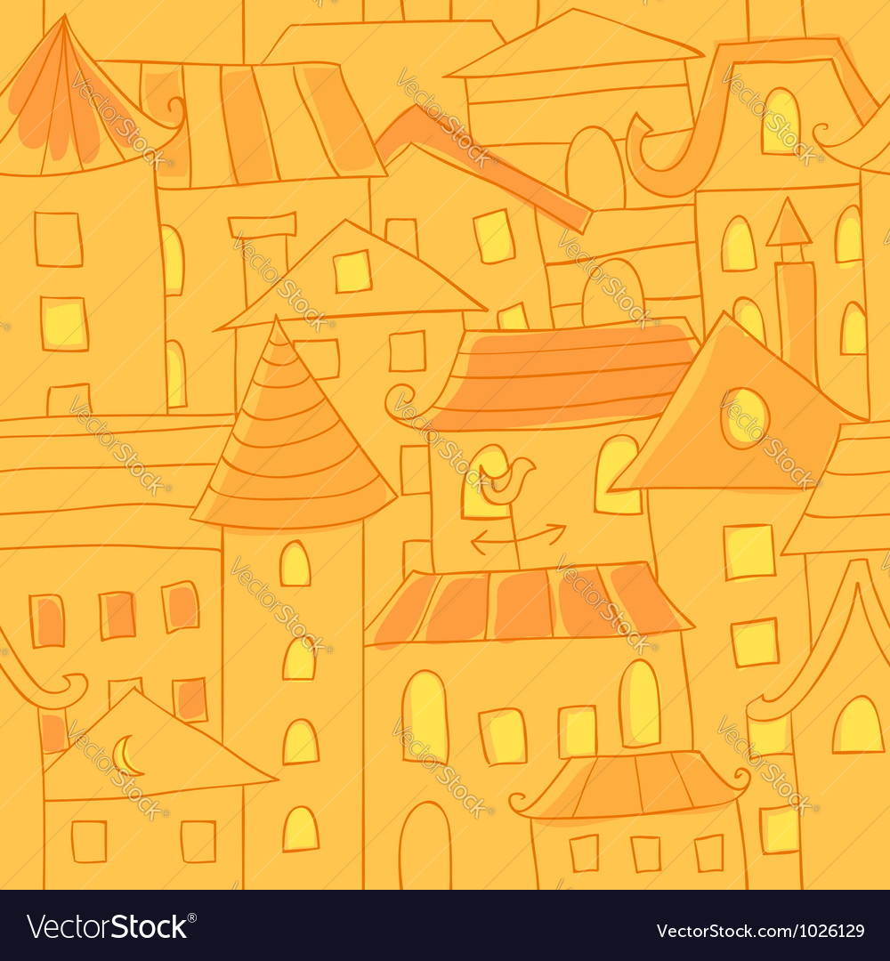 Retro style hand drawn city houses seamless vector | Price: 1 Credit (USD $1)