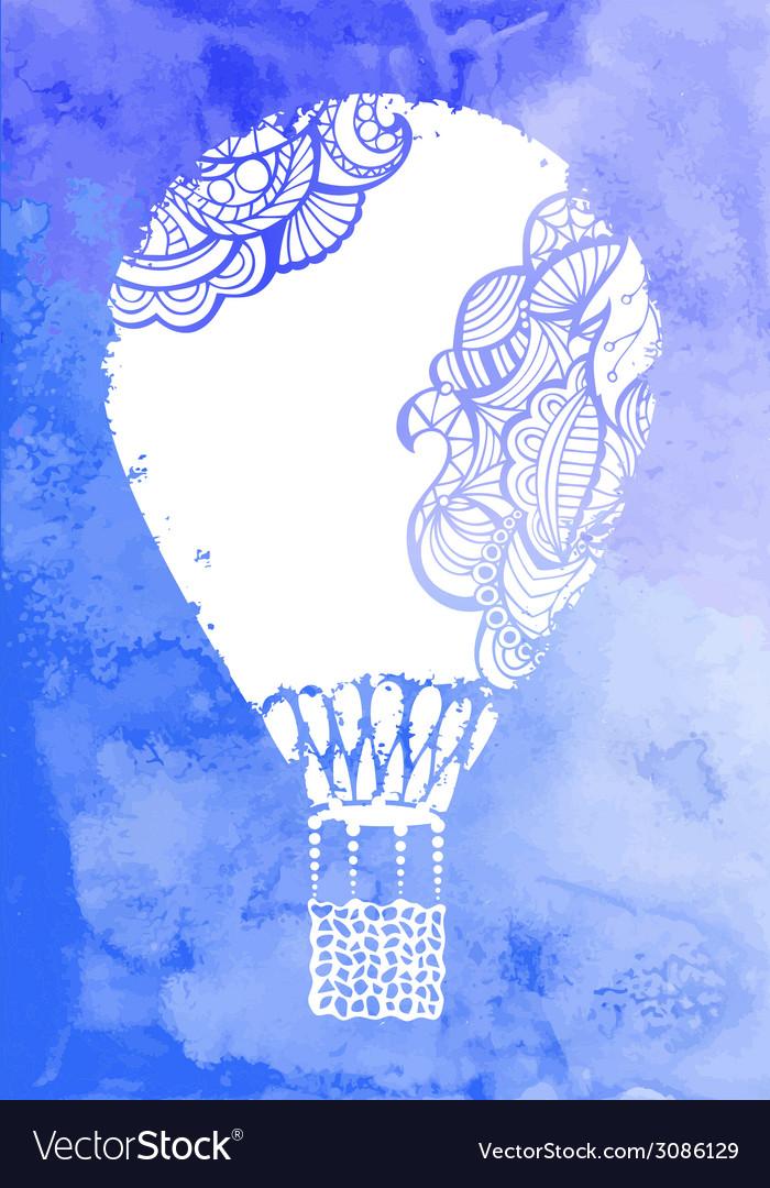 Watercolor hot air balloon vector | Price: 1 Credit (USD $1)