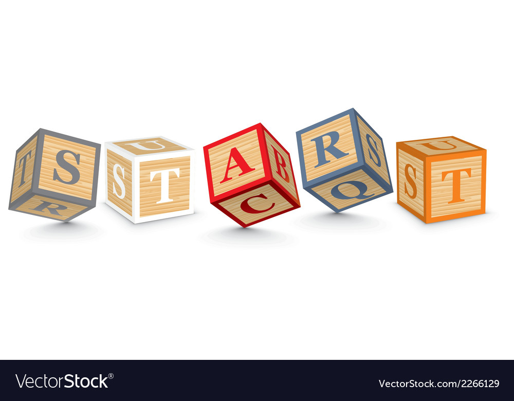 Word start written with alphabet blocks vector | Price: 1 Credit (USD $1)