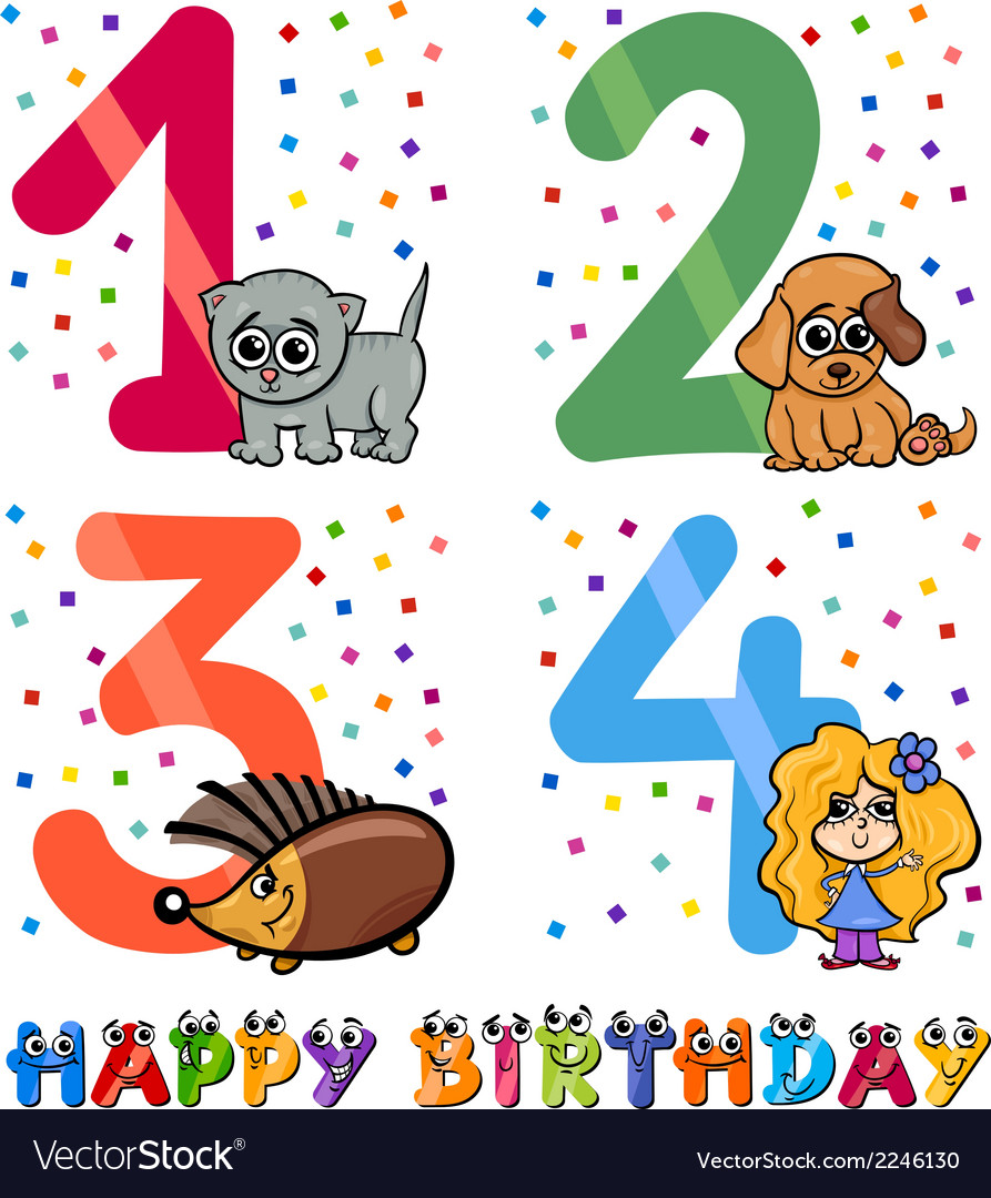Birthday cartoon design for girl vector | Price: 1 Credit (USD $1)