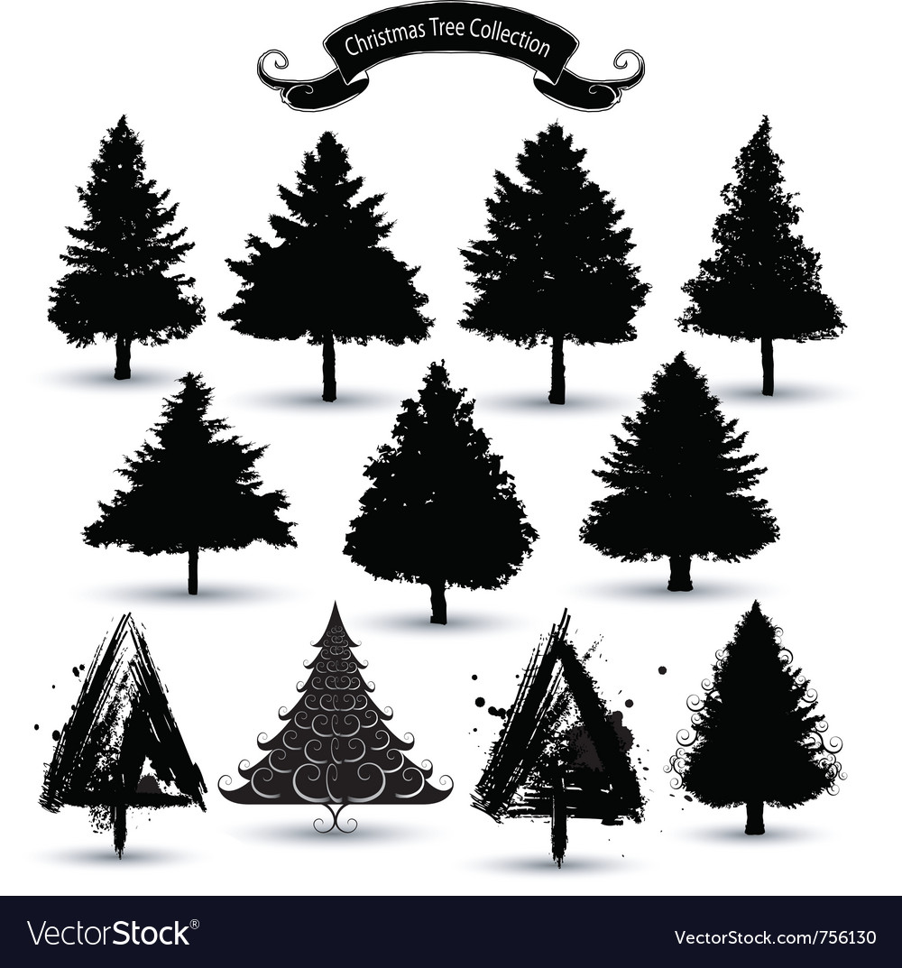 Christmas tree silhouettes vector | Price: 1 Credit (USD $1)