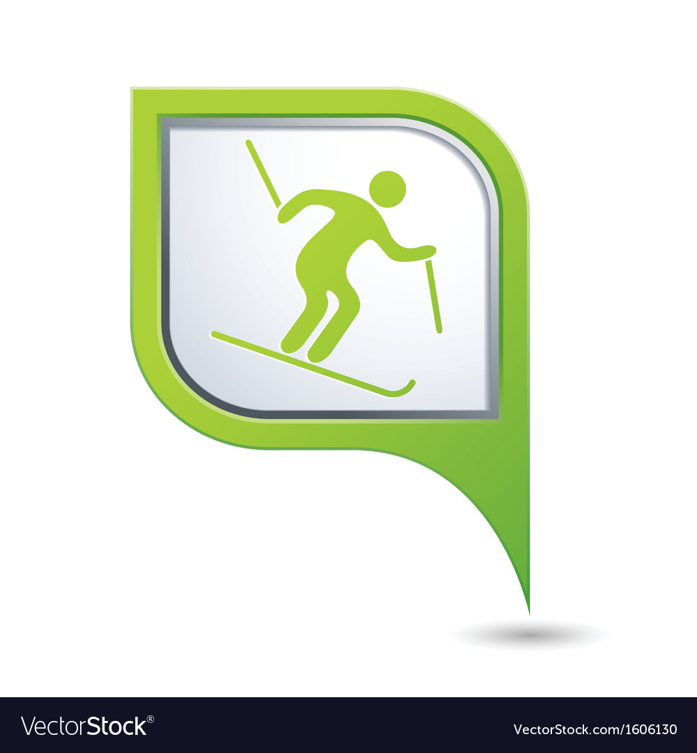 Downhill skiing icon green map pointer vector | Price: 1 Credit (USD $1)