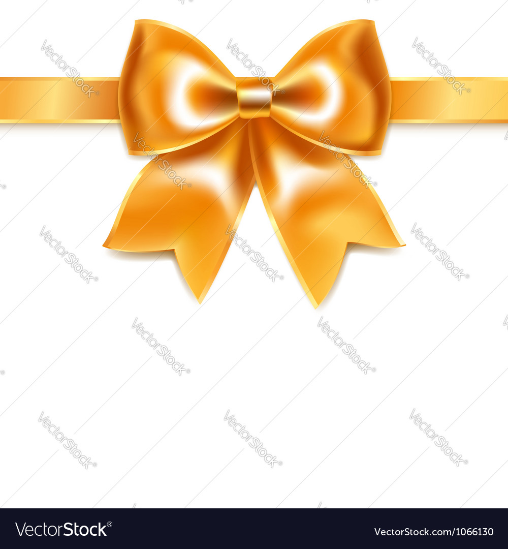 Golden bow of silk ribbon isolated on white vector | Price: 1 Credit (USD $1)