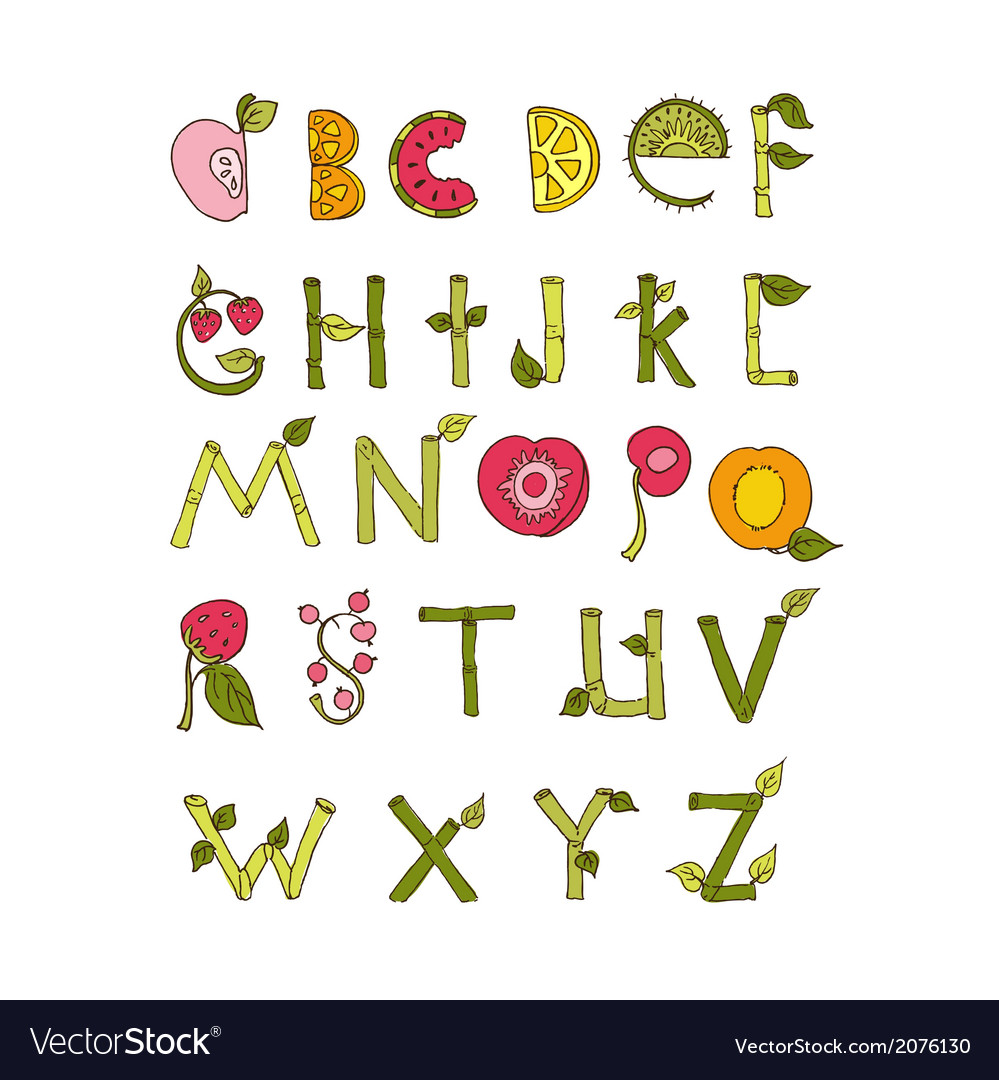 Hand drawn alphabet - nature and fruits vector | Price: 1 Credit (USD $1)