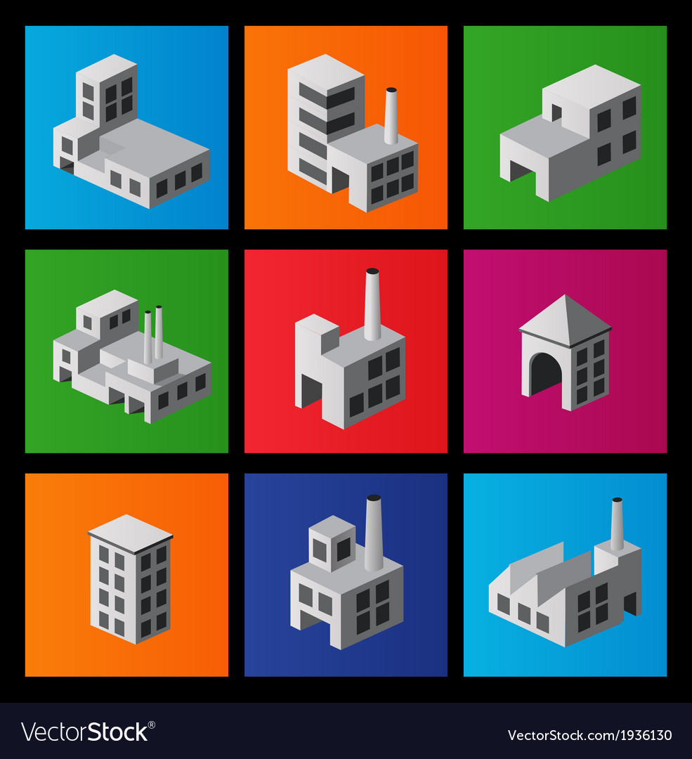 Icons with factories and plants vector | Price: 1 Credit (USD $1)