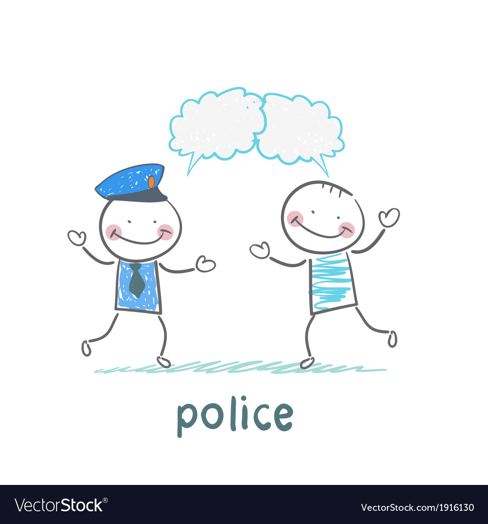 Police listen to people vector | Price: 1 Credit (USD $1)