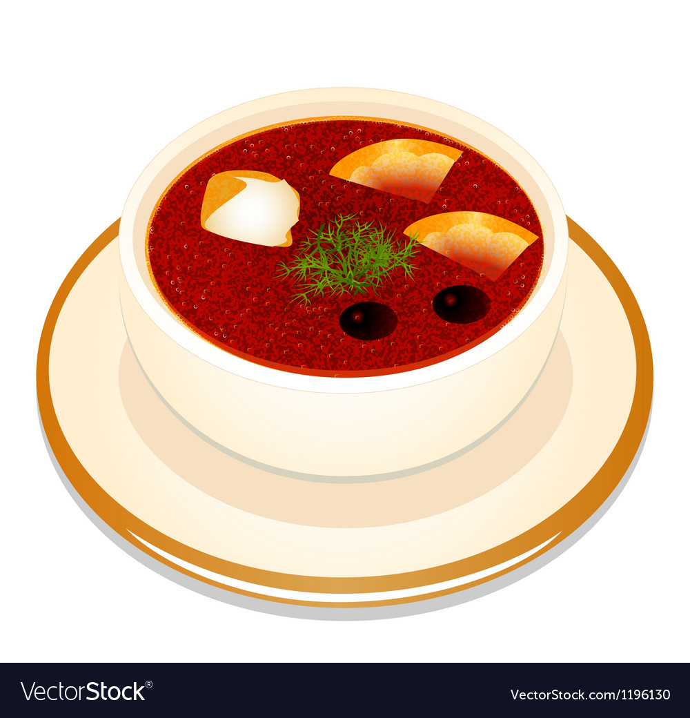 Ukrainian hodgepodge soup with sour cream in a bow vector | Price: 1 Credit (USD $1)