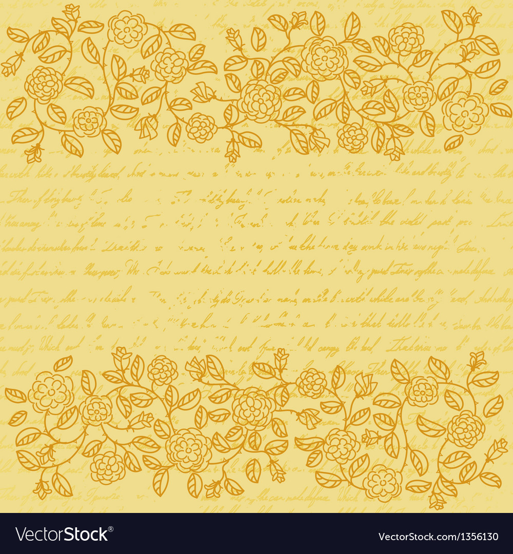 Vintage background with rose doodle border vector | Price: 1 Credit (USD $1)