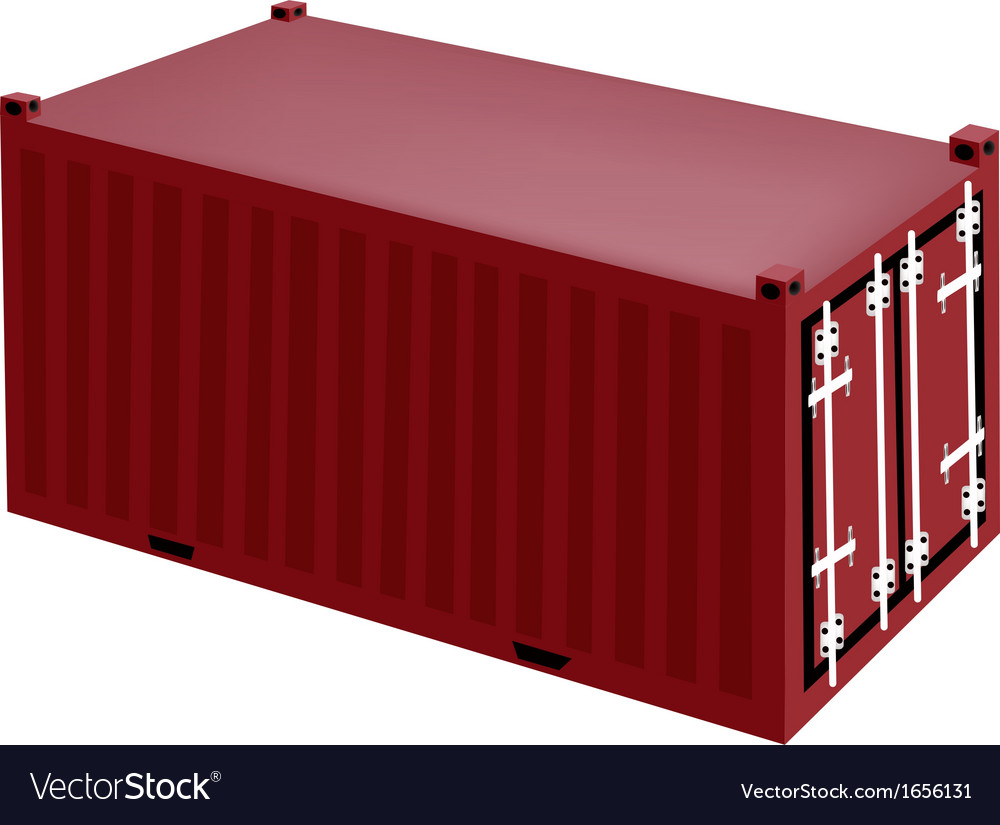 A red cargo container on white background vector | Price: 1 Credit (USD $1)