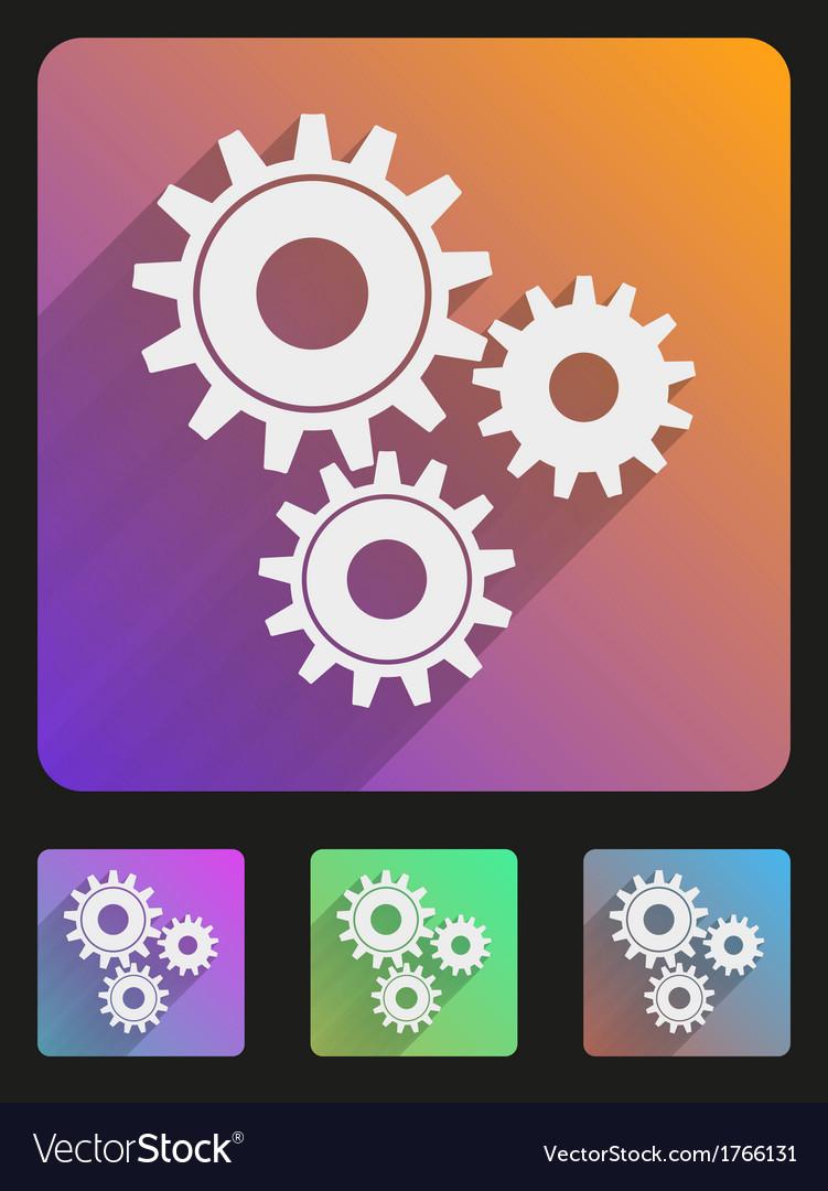 Flat icon set mechanic gears vector   Price: 1 Credit (USD $1)