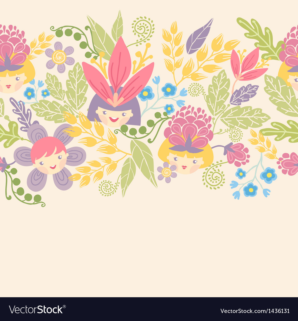 Flower girls horizontal seamless pattern vector | Price: 1 Credit (USD $1)