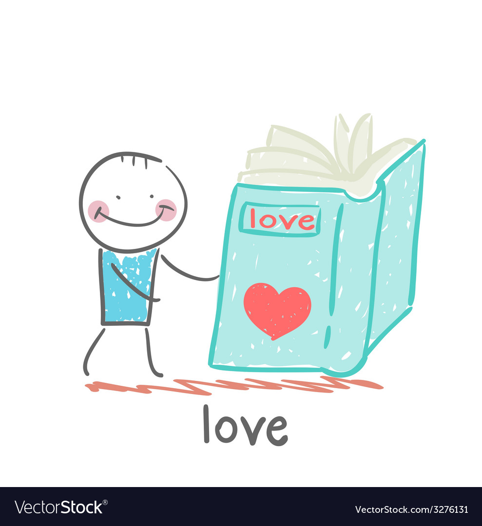 Man reading a book about love vector | Price: 1 Credit (USD $1)