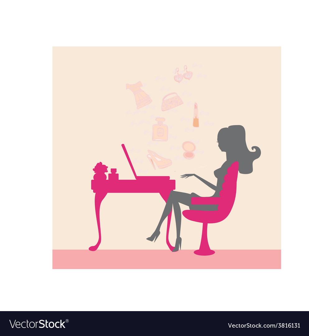 Online shopping - woman silhouette sitting with vector | Price: 1 Credit (USD $1)
