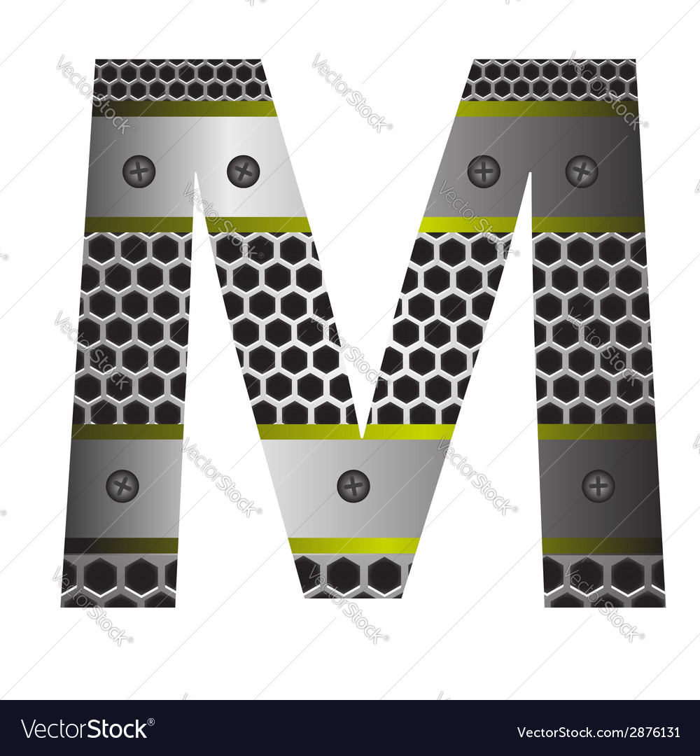 Perforated metal letter m vector | Price: 1 Credit (USD $1)