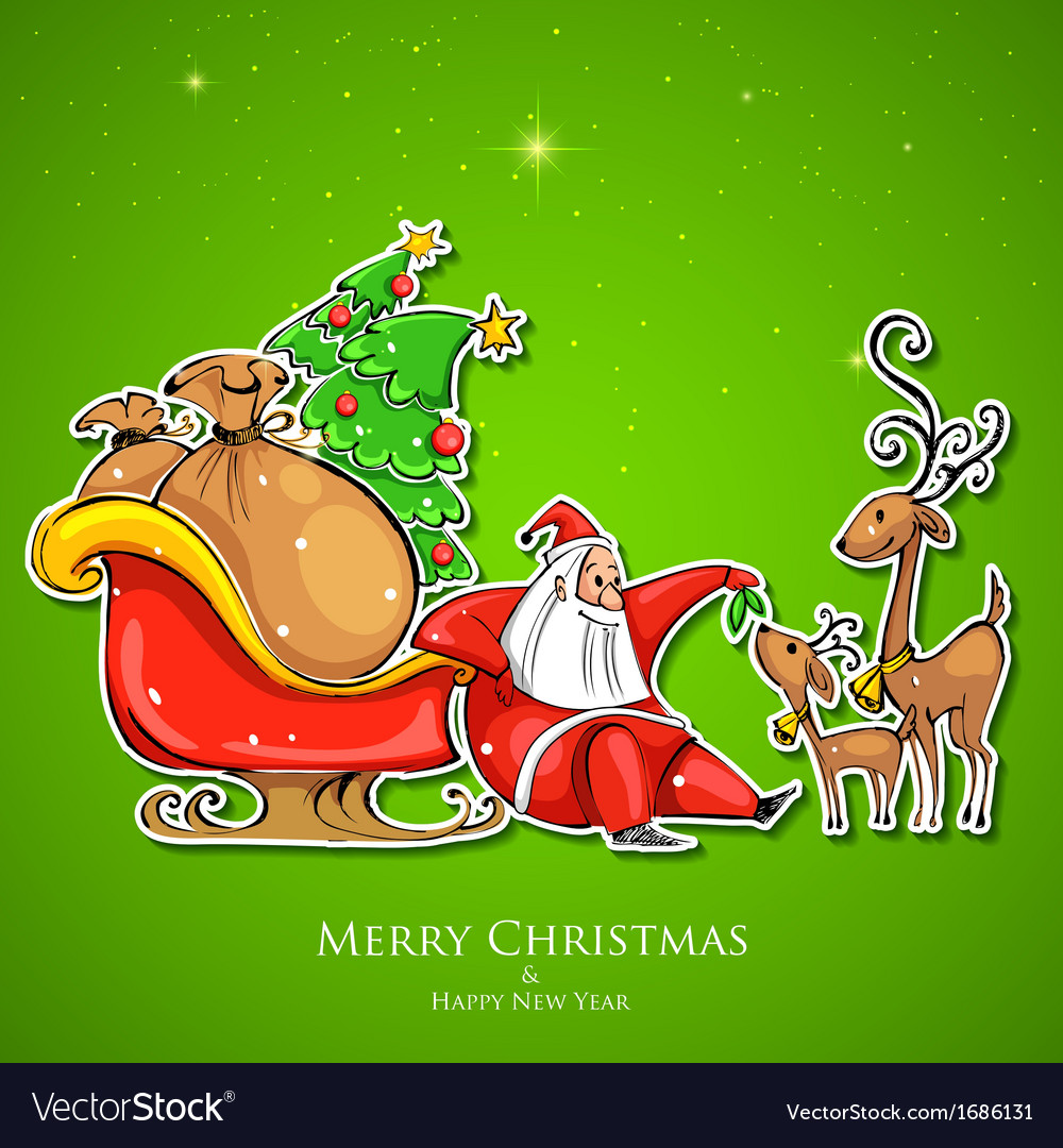 Santa claus feeding reindeer in christmas vector | Price: 1 Credit (USD $1)