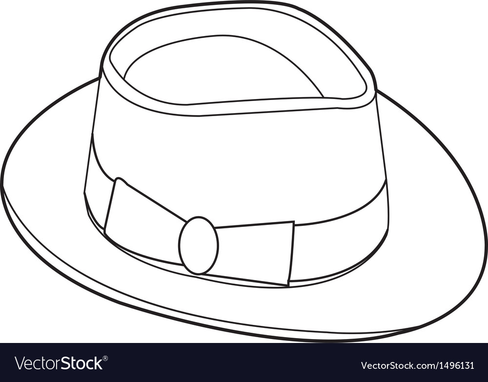 Vintage hat outline vector | Price: 1 Credit (USD $1)