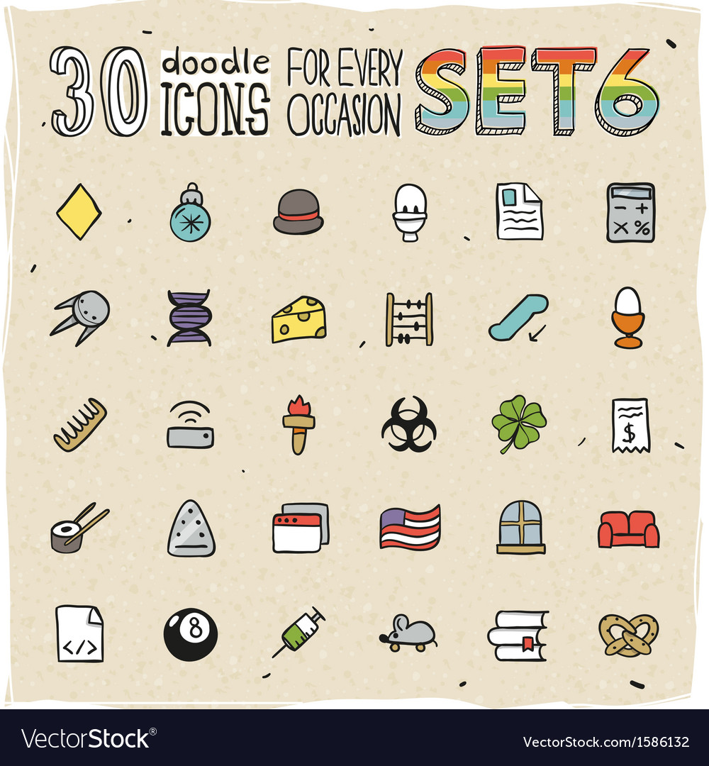 30 colorful doodle icons set 6 vector | Price: 1 Credit (USD $1)
