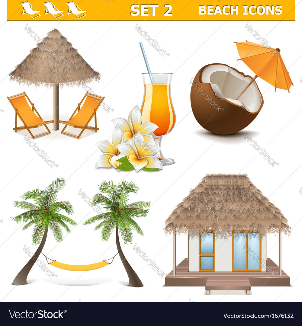 Beach icons set 2 vector | Price: 1 Credit (USD $1)