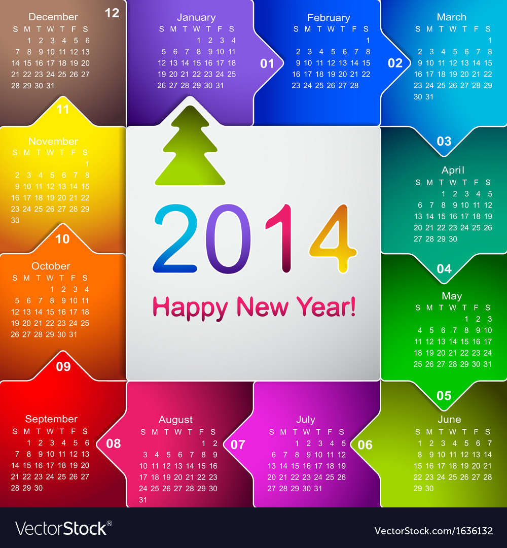 Clean 2014 business wall calendar vector | Price: 1 Credit (USD $1)
