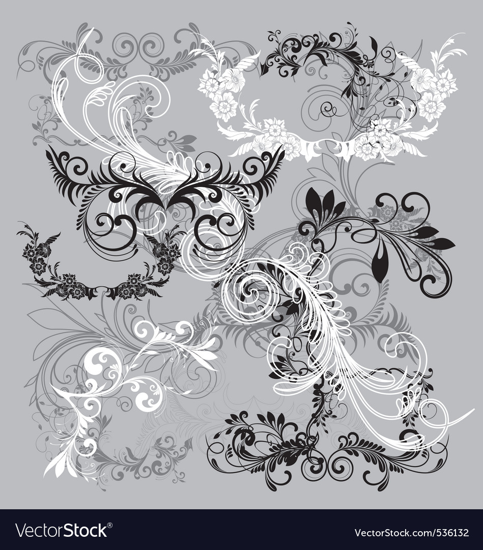 Floral scrip filigrees vector
