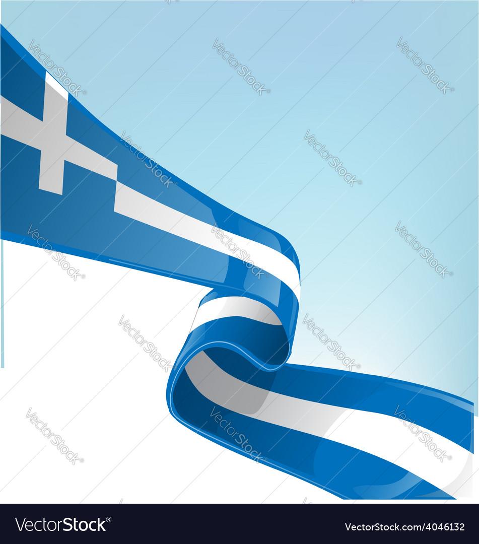 Greek flag on sky background vector | Price: 1 Credit (USD $1)