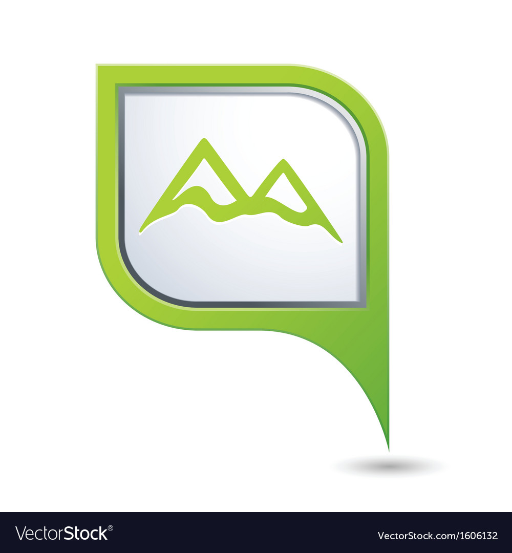 Mountain icon green map pointer vector | Price: 1 Credit (USD $1)