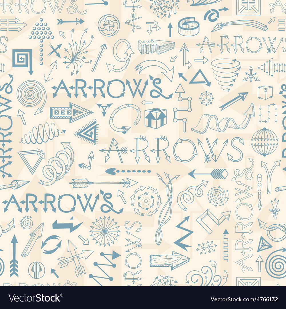 Seamless pattern with doodle arrows vector   Price: 1 Credit (USD $1)