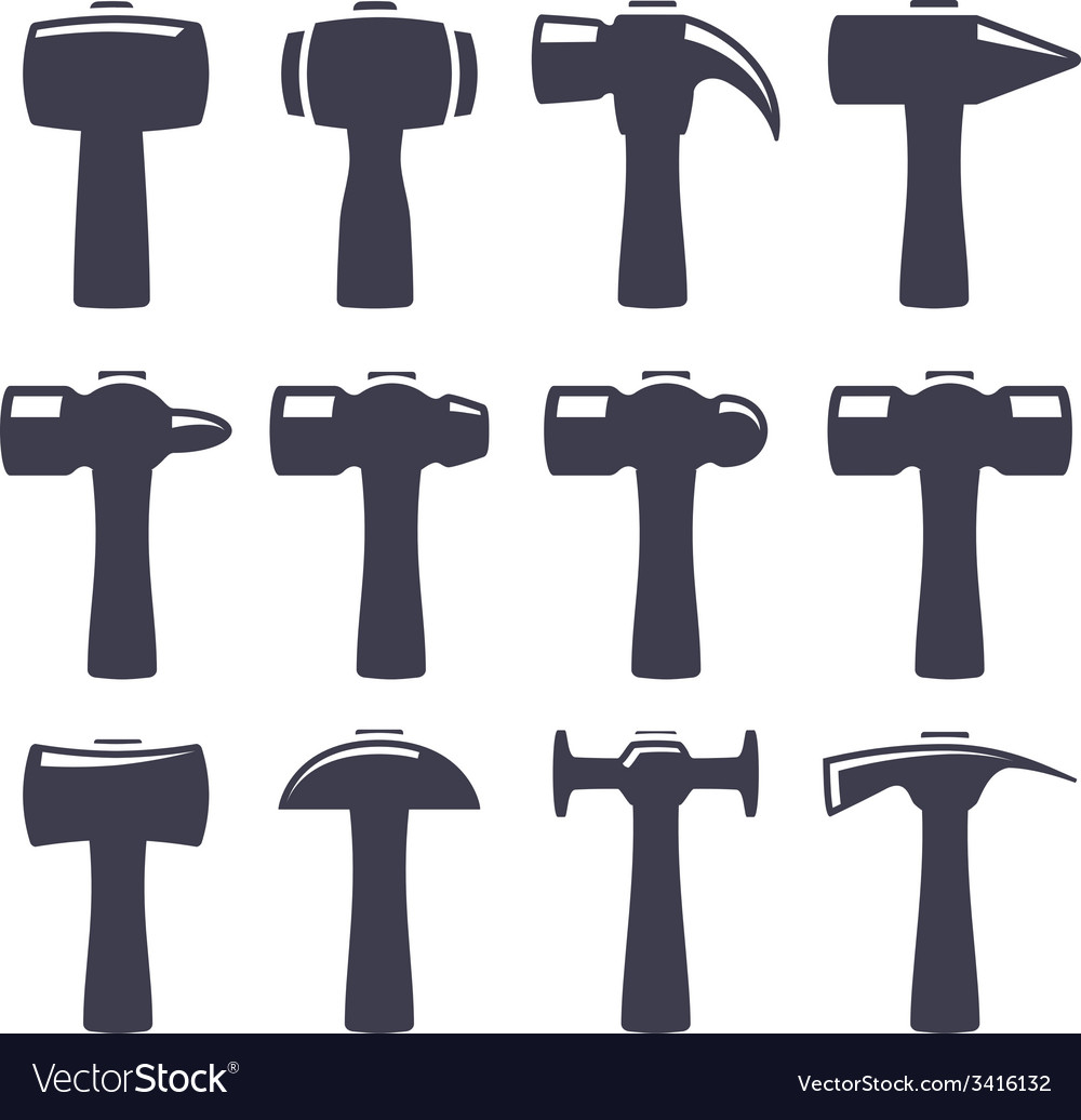 Set icons of hammers vector | Price: 1 Credit (USD $1)