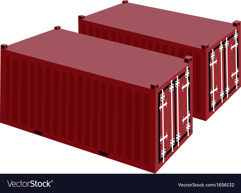 Two red cargo container on white background vector | Price: 1 Credit (USD $1)