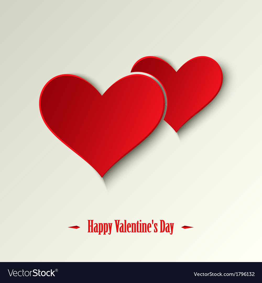 Valentine card with red hearts on a light vector | Price: 1 Credit (USD $1)