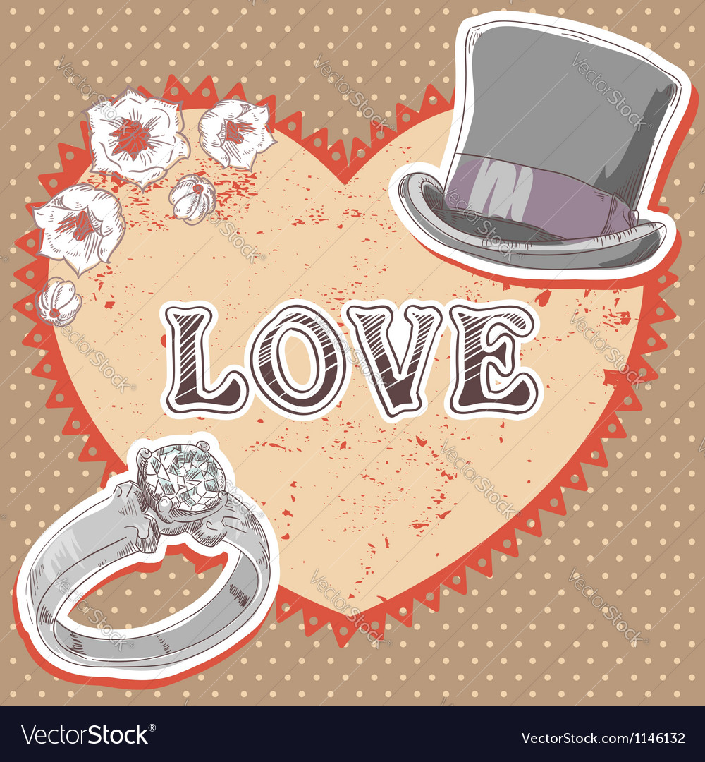 Valentine romantic retro card vector | Price: 1 Credit (USD $1)