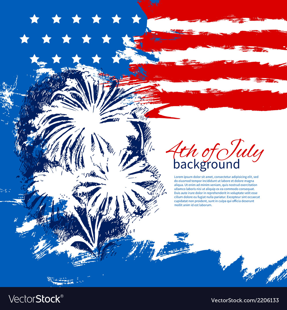 4th of july background with american flag vector | Price: 1 Credit (USD $1)